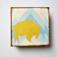 Art Block l Buffalo Mountain Southwest Geometric  5x5 wood block  chevron blue yellow pattern pastel redtilestudio