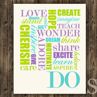 Words of Wisdom - Wall Decor, Poster, Digital Print - blue purple and green, 8x10