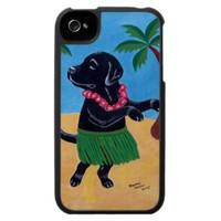 Aloha Black Labrador Painting Case For The Iphone 4 from Zazzle.com