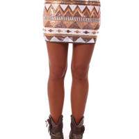 Gold Sequin Aztec Print Skirt