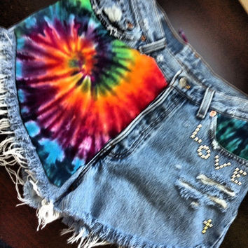 Vintage Levi's high waisted Daisy Duke destroyed Tie Dyed denim short size Sm/Med