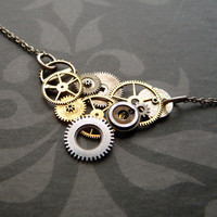 Clockwork Necklace Vee Wing Elegant Mechanical by amechanicalmind