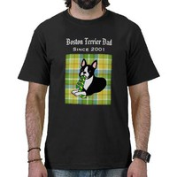 Personalized Boston Terrier Daddy 1 Plaid Tee Shirt from Zazzle.com