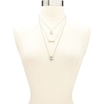 DIAMANTE BAR & CLUSTER LAYERING NECKLACES - 3 PACK