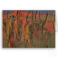 Meerkats war-dancing - Art card from Zazzle.com