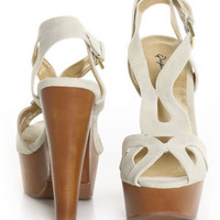 Qupid Eastney 25 Ivory Nubuck Curvy Wooden Platform Sandals