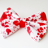 Hair Bow Vintage Inspired Blood Splatter Zombie Hair Bow Clip Rockabilly Pin up Teen Woman Girl