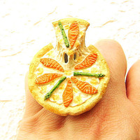 Kawaii Food Ring Salmon Asparagus Cheese White Sauce Pizza  Ring