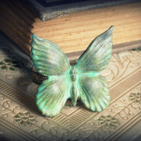 Taking Flight ... antiqued handaged verdigris butterfly patina steampunk boho gypsy shabby chic ring