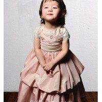 [$73.99] Jewel Pearl Pink Sleeveless Taffeta Zipper Up Flower Girl Dress with ruched
