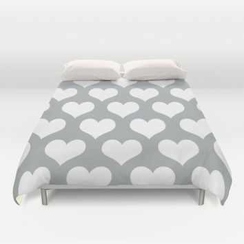 Hearts of Love Grey & White Duvet Cover by BeautifulHomes   Society6