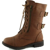 Women's Combat Military Cowboy Mid Calf Rubber Sole Lace up Ankle Buckles Strap Stean Punk Round Toe Flat Heel Motorcycle Casual Combat Boots Fashion Designer Comfort Shoes,5.5 B(M) US,Tan (Zipper with Belt)