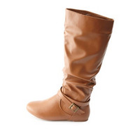 BELTED SLOUCHY FLAT KNEE-HIGH BOOTS