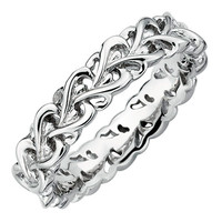 Stackable Expressions™ Polished Filigree Heart Ring in Sterling Silver