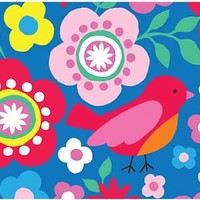 Multiflower Bird Print Wrapping Paper