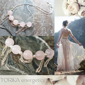 Elegant Rose Quartz Necklace, Pink Quartz Chains Necklace Sterling Silver, Pink Gemstone, Natural Semiprecious Gemstone, Fashion Jewelry