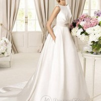 Satin Jewel Ball Gown Embellished Waistband 2013 Wedding Dresses at Dresseshop