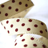 Cream And Claret Polka Dot Ribbon