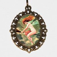 The Little Witch Necklace, Witch Jewelry, Wiccan, Halloween, Horror, Oval Pendant