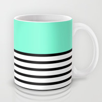 Tiffany Black and White Stripes Pattern Mug by RexLambo