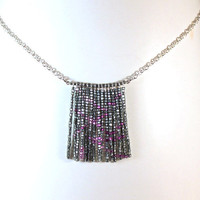 Silver Grey and Pink Glass Bead Fringe Drop Necklace