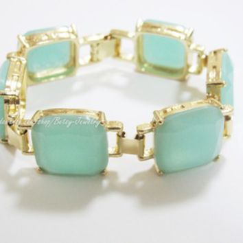 Mint Green Square Bracelet
