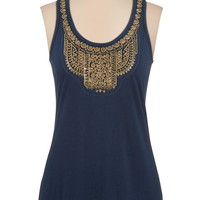 Metallic bead embellished scoop neck tank