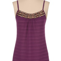 Subtle stripe metallic bead embellished tank