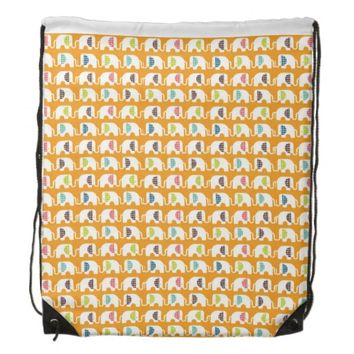Cute Elephants on Drawstring Backpack