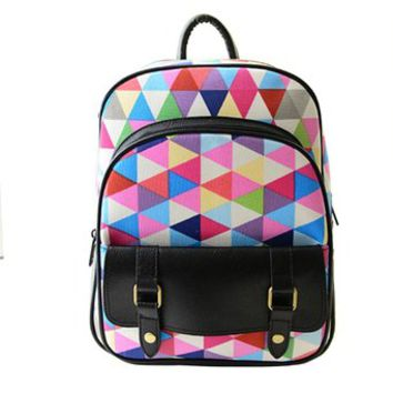 Fashion Rainbow Grid Canvas Backpack
