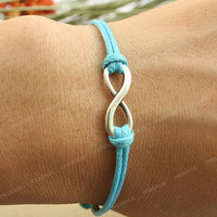 Bracelet-turquoise good karma infinity bracelet, boyfriend gift bracelet, gift for girlfriend