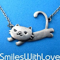 Dotoly | Floating Kitty Cat Animal Necklace in Silver | Online Store Powered by Storenvy