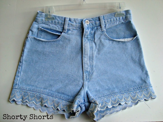 High Waisted Shorts Light Blue Wash Summer Clothing