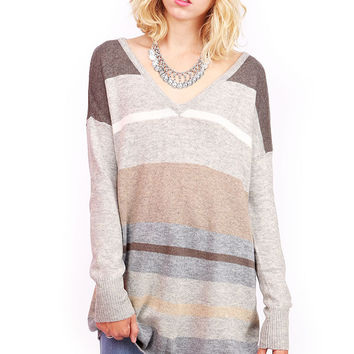 Stripe+V-Neck+Knit
