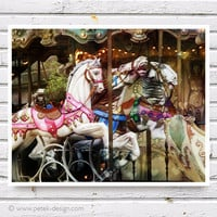 "Carousel Horses Photo Nursery Decor Fine Art Photograph 8x10"" Vintage inspire Shabby Chic Wall Art"
