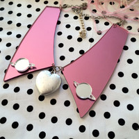 Mirror Pink and Silver Heart Acrylic Collar Necklace