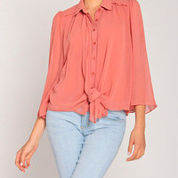 Robed Lapel Sheer Blouse in Faded Rust