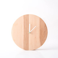 Clock Plain wood Light version natural solid wood FREE WORLDWIDE shipping