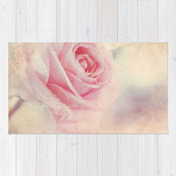 Antique Rose - pastel pink & cream vintage linen textured floral Area & Throw Rug by micklyn | Society6