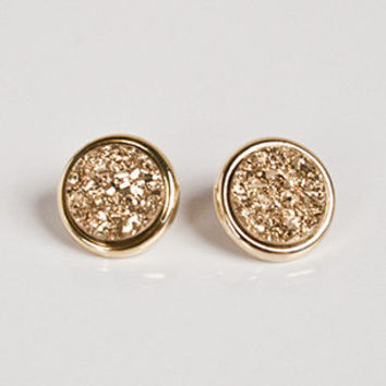 Marcia Moran Druzy Gold Stud Earrings | Rain Collection | Jewelry Collections