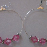 Pretty Pink Faceted Crystal  Tibetan Silver Bead Large Hoop Earrings | 123gemstones - Jewelry on ArtFire