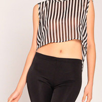 Cropped Split Striped Top in Black White