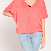 Zip Up Poncho Top in Coral