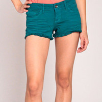 Sneak Peek Fray Denim Shorts in Teal