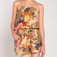 Pressed Flowers Romper in Cream
