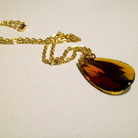 Oval Cut Amber Orange Yellow Gold Crystal Pendant Necklace w/ Gold Color Chain