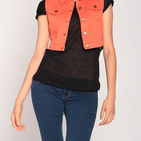 Cropped Vest in Orange
