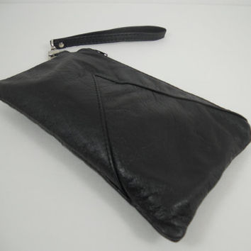 Black #Leather #Wristlet, #Repurposed Leather #Clutch Wristlet, iPhone Pouch #Wallet, Wristlet Wallet, Upcycled Leather Purse, Ready to Ship