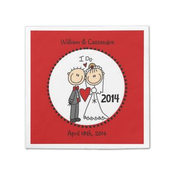 2014 Stick Figure I Do Wedding Paper Napkins