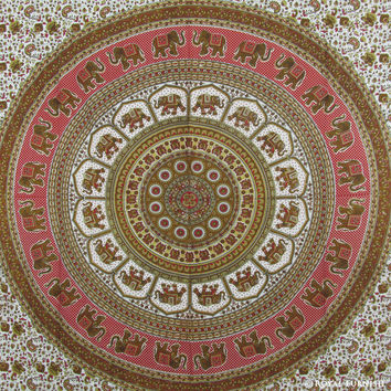 Red Indian Elephant Round Mandala Dorm Decor Tapestry Wall Hanging Bedspread on RoyalFurnish.com